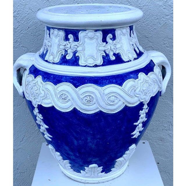 Late 20th Century Italian Blue and White Della Robbia Style Jardiniere, Provenance, Celine Dion For Sale - Image 5 of 11