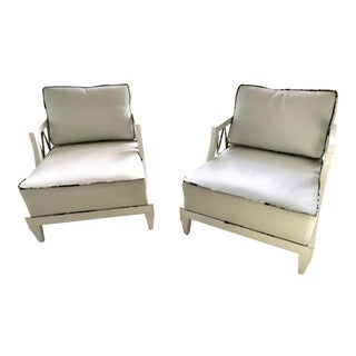 1940's Hollywood Regency Grosfeld House White Laquered Armchairs - a Pair