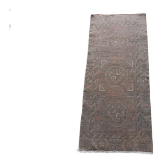 """Yastik Rug Distressed Low Pile Petite Rug Faded Mat - 1'8″ X 3'9"""" For Sale"""