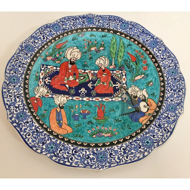1950s Large Turkish Ottoman Scene Polychrome Hand Painted Ceramic Plate Kutahya For Sale - Image 5 of 12