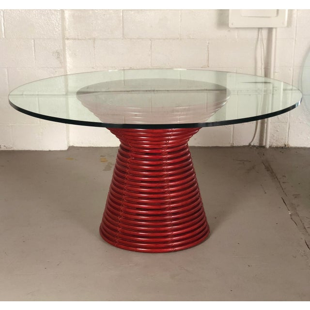Contemporary Contemporary McGuire Red Round Table For Sale - Image 3 of 8
