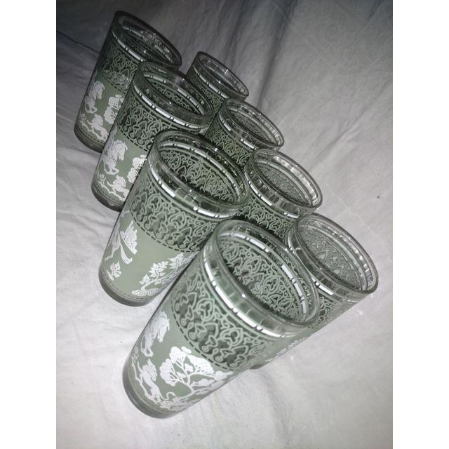 Vintage Arabian Knights Hazel Atlas Green Bar Glasses - Set of 8 For Sale - Image 5 of 6
