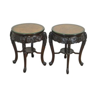 Lord Co. Yokohama Japan Vintage Pair of Round Carved Asian Side Tables For Sale