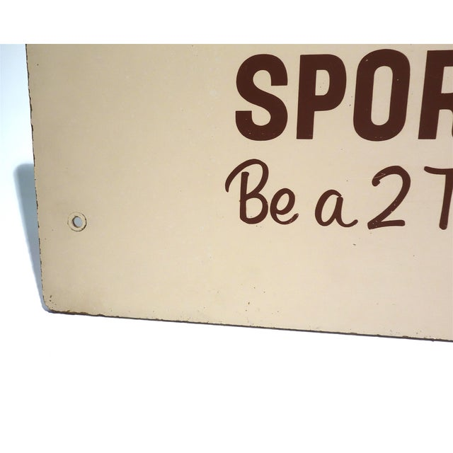 Mid 20th Century Rca Portable Tv Advertising Sign Circa Mid-20th Century Brown Over Beige on Wood For Sale - Image 5 of 13