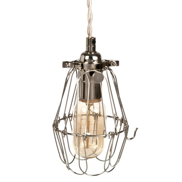 Industrial Metal Cage Pendant Light - Nickel - Image 1 of 3