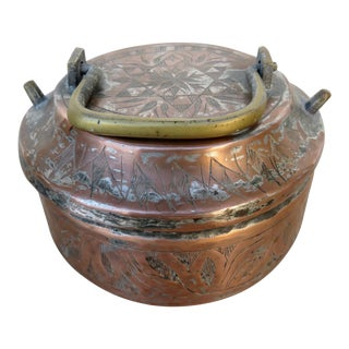 Antique Middle Eastern Copper Container with Handle For Sale
