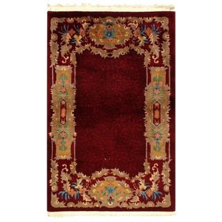 Pasargad Red Antique Chinese Art Deco Rug-3' X 4'9'' For Sale