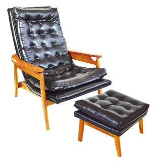Milo Baughman Scoop Style Lounge Chair and Ottoman