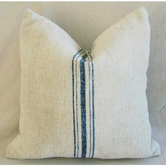 Blue Stripe French Grain Sack Pillow - Image 7 of 8