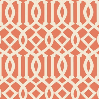 Sample - Schumacher Imperial Trellis II Wallpaper in Ivory/Mandarin For Sale