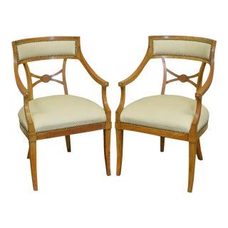 Biedermeier Style Vintage Walnut & Leather Arm Chairs - A Pair