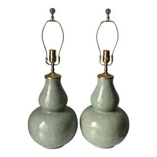 2 Vintage Celadon Double Gourd Lamps-Harps & Finials For Sale