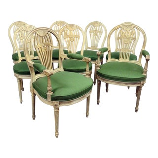 Vintage Mid Century Louis XV Style Dining Chairs- Set of 8 For Sale