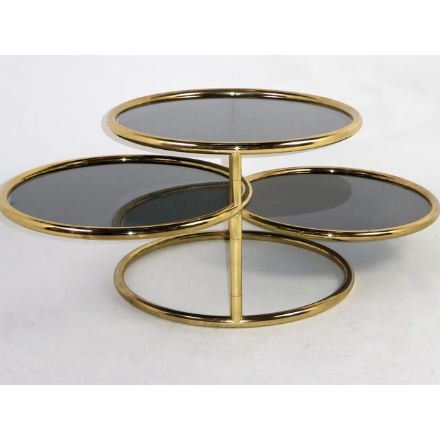 1970s Three Tier Brass With Smoked Glass Coffee Table For Sale - Image 4 of 12