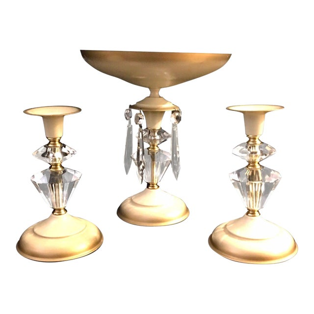 Mid-Century Table Centerpiece Candle Holders - Set of 3 For Sale