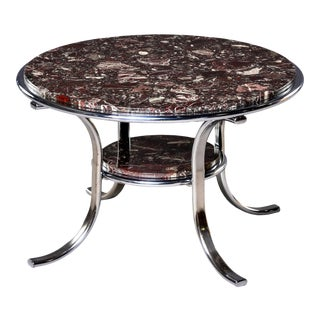 Mid Century Two-Tier Polished Nickel and Marble Cocktail Coffee Table For Sale