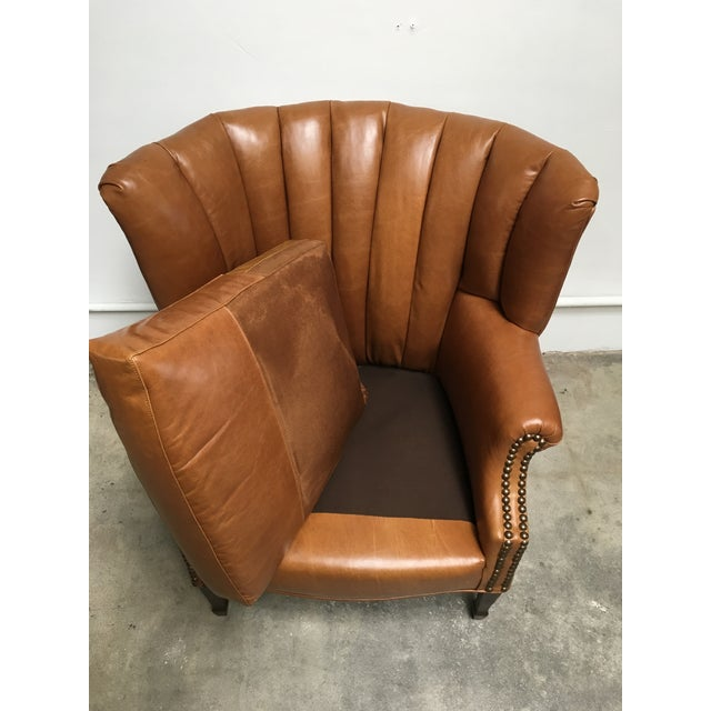 1940s Unique Channel Back Bucket Wing Chair For Sale - Image 11 of 13