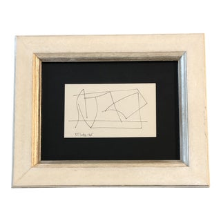 Original Vintage Robert Cooke Miniature Abstract Ink Drawing 1980's For Sale