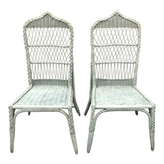 Vintage Mid Century Wicker Pagoda Chairs- a Pair For Sale