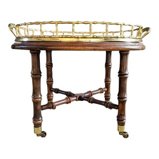 Hollywood Regency Faux Bamboo Brass Tray Table For Sale
