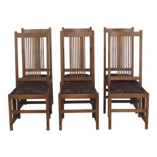Stickley Mission Oak Arts & Crafts Dining Chairs- Set of 6 For Sale