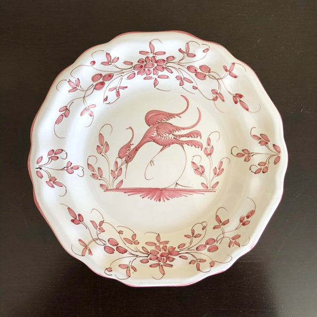 Moustier Vintage Pink White French Faience Decorative Plate For Sale - Image 4 of 4