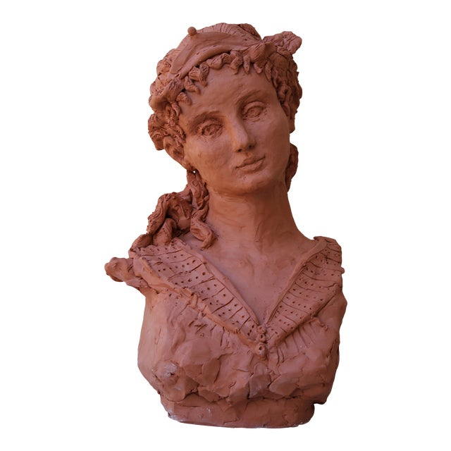 "Sarah Myers ""Woman With a Tiara"" Terracotta Sculpture For Sale"