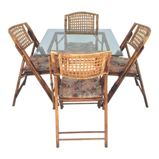 Vintage Faux Bamboo Table With 4 Burnt Bamboo Cane Folding Chairs For Sale