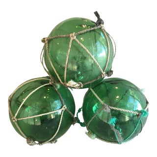 1950s Nautical Green Glass Floats - Set of 3 For Sale