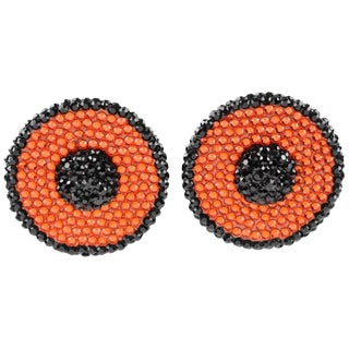 Richard Kerr Clip on Earrings Black and Orange Rhinestones Paved For Sale
