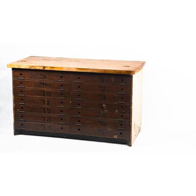 Wood 1930s Industrial Stenciled Butcher Block Table For Sale - Image 7 of 7
