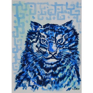 Chinese Tiger Leopard in Blue Painting by Cleo For Sale