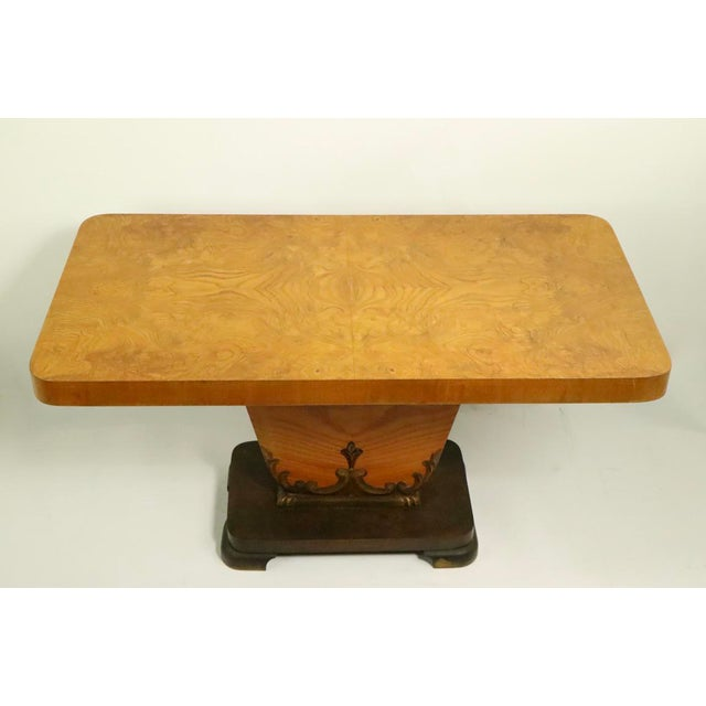 Wood Diminutive English Art Deco Burl Console Table For Sale - Image 7 of 9