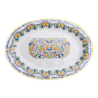 Vintage Hand Painted Italian Serving Platter by Ceramiche For Sale