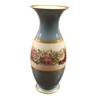 "Vintage ""Florentine"" Signed Blue and Floral Vase For Sale"