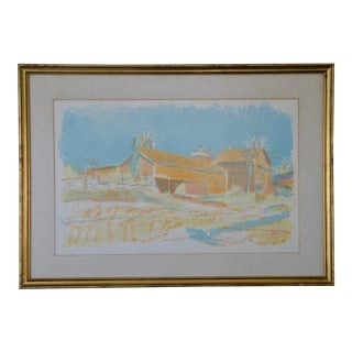 """1978 """"Barns in Autumn"""" Lithograph by Wolf Khan For Sale"""