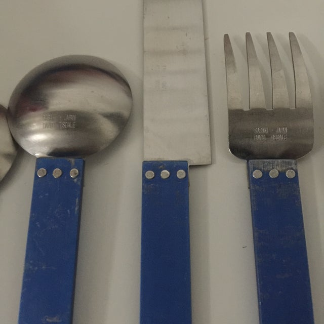 """Blue 1980s 5 Piece Metal """"electra"""" Flatware by David Tisdale for Sasaki For Sale - Image 8 of 11"""
