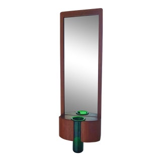 Randers Mobelfabrik Teak Mirror With Per Lutken for Holmegaard Glass Vase For Sale