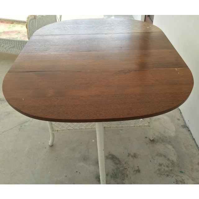 Wicker & Oak Drop-Leaf Dining Table For Sale In Miami - Image 6 of 10