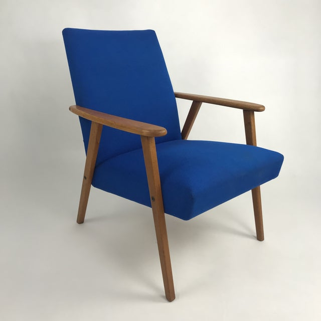 Royal Blue Swedish Modern Lounge Chair For Sale - Image 13 of 13