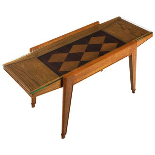 1940´s Coffee Table, oak, mahogany and oak marquetry - France For Sale