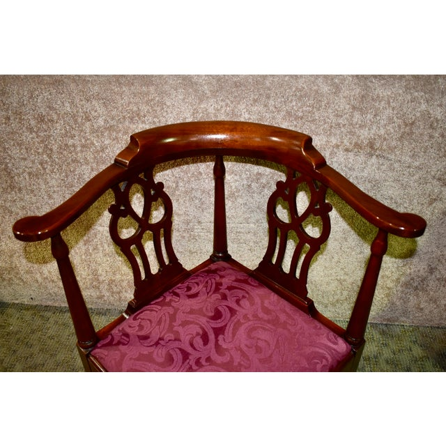 Hickory Chair Furniture Company Vintage Chippendale Hickory Chair Solid Mahogany Style Corner Chair For Sale - Image 4 of 13