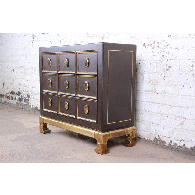 Mastercraft Mastercraft Hollywood Regency Chinoiserie Faux Tortoise Shell and Brass Chest of Drawers For Sale - Image 4 of 13