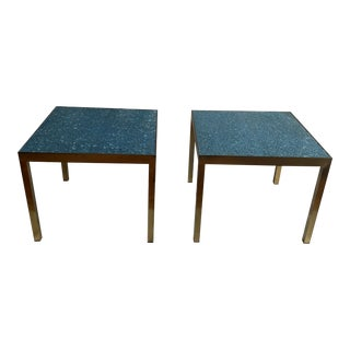 Murano Blue Chipped Glass and Brass Side Tables - a Pair For Sale
