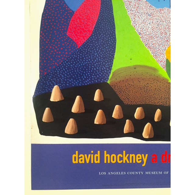 Blue Vintage 1996 David Hockney Original Lithograph Lacma Exhibition Pop Art Poster For Sale - Image 8 of 11