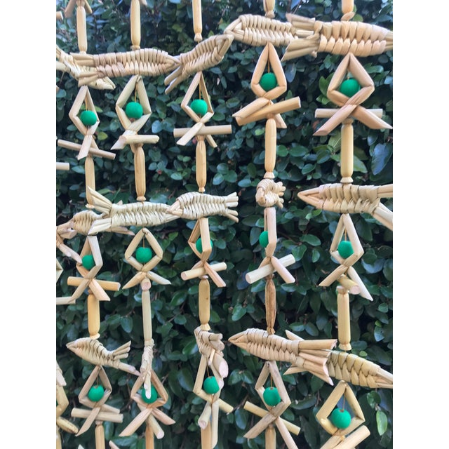 2010s Hand Woven Grass Fish Beaded Curtain For Sale - Image 5 of 6