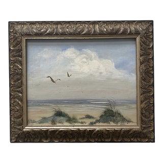 Late 20th Century Beach Scene Oil Painting, Framed For Sale