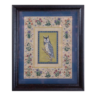 Vintage Indian Hand-Painted Owl Surrounded by Flowers, Framed For Sale