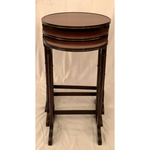 """Antique English Mahogany Nest of Tables with Delicate Inlay. Closed: 17 1/8"""" Diameter"""