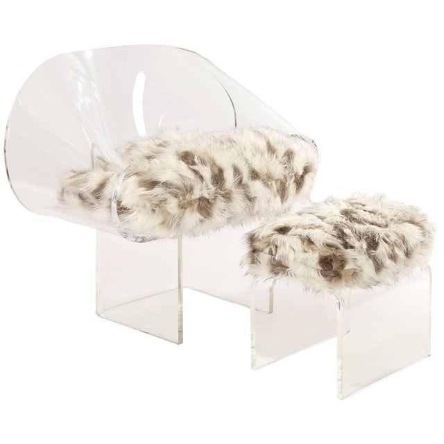 Animal Skin Signed Robert Van Horn Lucite Ribbon Chair and Ottoman For Sale - Image 7 of 7